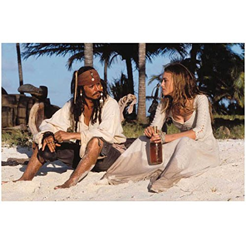 Pirates of the Carribean Captain Jack Sparrow Johnny Depp Sitting with Keira Knightley Elizabeth Swann on the Beach with a Bottle of Rum 8 x 10 Photo