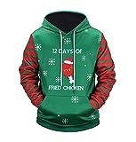 BCDshop Men Women Long Sleeve Hooded Sweatshirt Christmas Graphics Print Tops Blouse (Green,2XL)