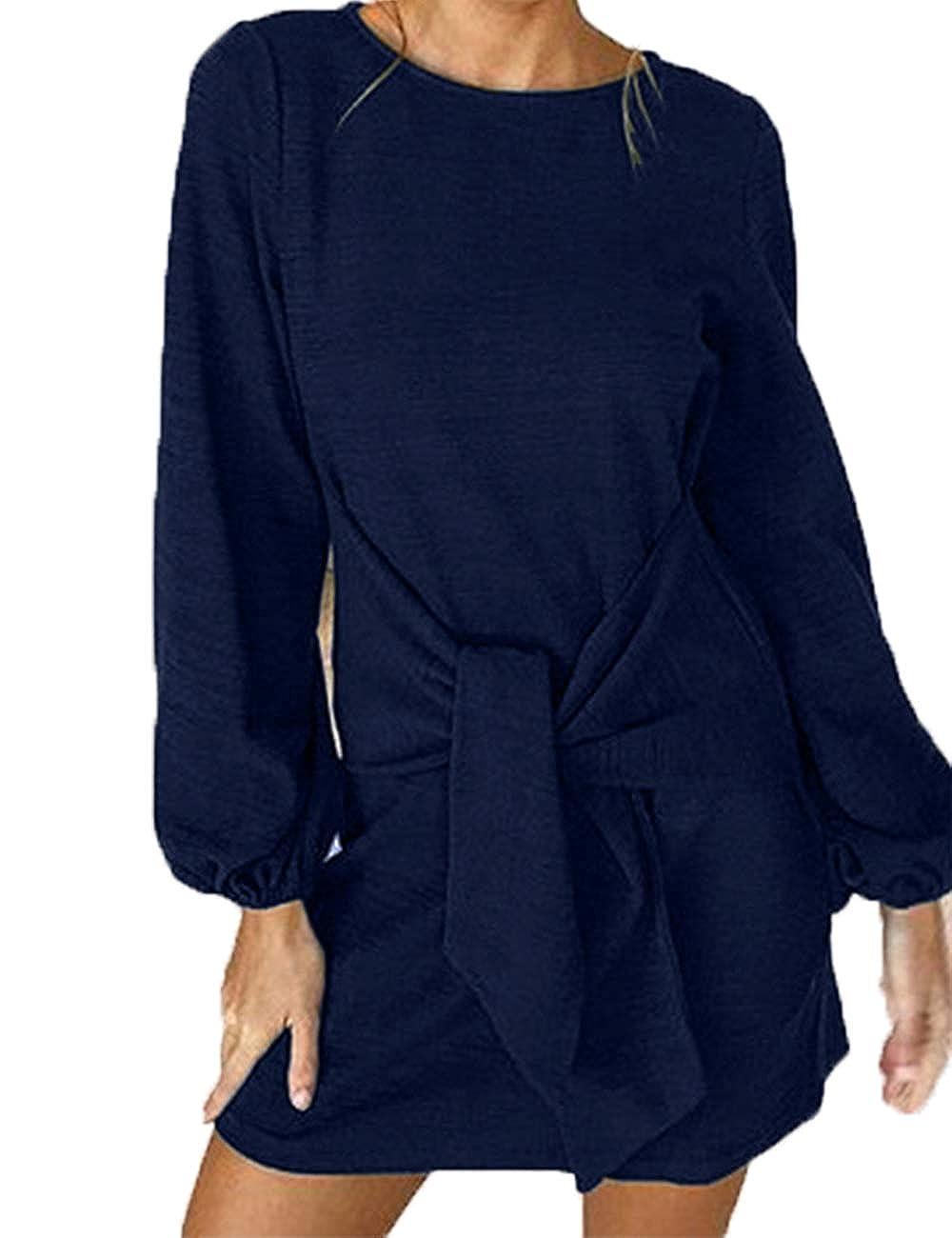 Dark bluee Haola Women's Tie Front Dress Round Neck Casual Loose Long Lantern Sleeve Mini T Shirt Dresses