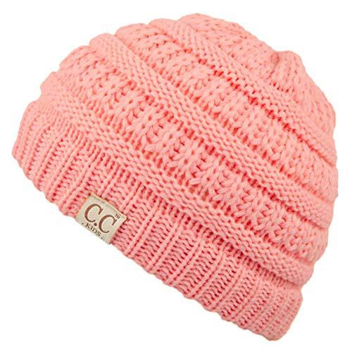 C.C Hatsandscarf Kids Beanie Ages 2-7 Warm Chunky Thick Stretchy Knit Slouch Beanie Skull Hats (YJ-847-KIDS) (Peach)