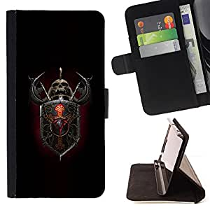 DEVIL CASE - FOR Sony Xperia Z3 D6603 - Shield Axe Fighter Warrior Rpg Helmet - Style PU Leather Case Wallet Flip Stand Flap Closure Cover
