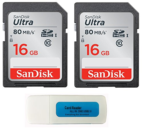 SanDisk Ultra - 2 Pack Bundle UHS-I Class 10 SD Flash Memory Card Retail (SDSDUNC-016G-GN6IN) - With Everything But Stromboli (TM) Combo Card Reader (16GB 2 - Sd 16g Cheap Card Memory