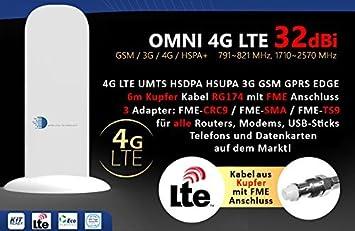HUKITECH Antena 4G LTE UMTS HSDPA 3G GSM con 32 dBi, cable de ...