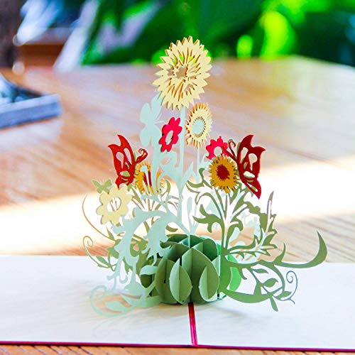Paper Spiritz Sunflowers Pop up Cards Birthday, Anniversary Thank You Card for Husband Daughter Wife, Handmade Graduation Sympathy Blank Card Wedding, Laser Cut Gift Card with Envelopes all -