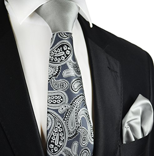 Grey Contrast Knot Tie and Pocket Square by Paul Malone