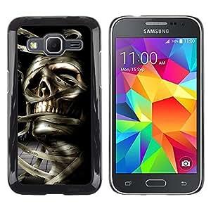 TECHCASE**Cubierta de la caja de protección la piel dura para el ** Samsung Galaxy Core Prime SM-G360 ** Skull Mummy Egypt Pharaoh Black White