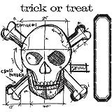 Set pochoirs métalliques et tampons - Skull Blueprint by Tim Holtz