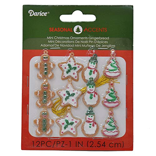 Adorable Finished Hanging Gingerbread Theme Miniature Ornaments-36 Total Pcs.