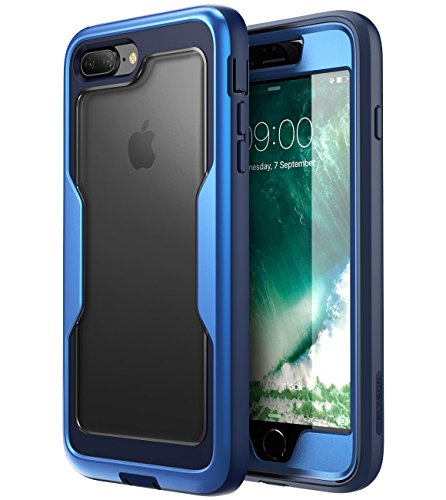 i-Blason Case for iPhone 8 Plus 2017/iPhone 7 Plus, [Magma Series] [Heavy Duty Protection] Shock Reduction/Full Body Bumper Case with Built-in Screen Protector(MetallicBlue)