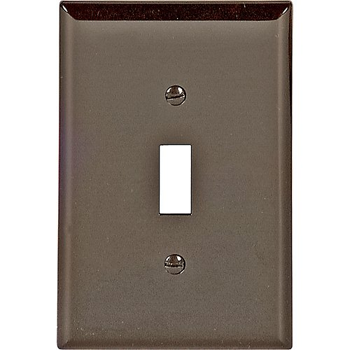 (Cooper Wiring Devices PJ1B Unbreakable Mid Size 1-Gang Toggle Wallplates Polycarbonate, Brown)