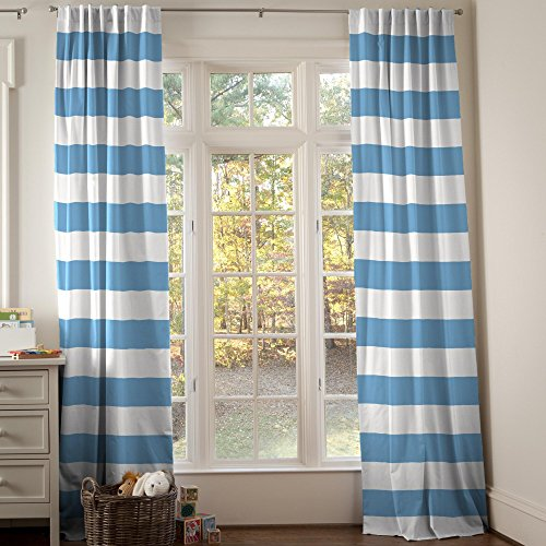 Carousel Designs Sky Blue Horizontal Stripe Drape Panel 96-Inch Length Standard Lining 42-Inch Width by Carousel Designs