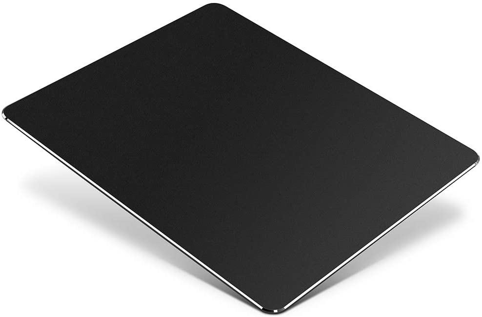 "Metal Aluminum Mouse Pad, Office and Gaming Thin Hard Mouse Mat Double Sided Waterproof Fast and Accurate Control Mousepad for Laptop, Computer and PC,9.05""x7.08"", Black"