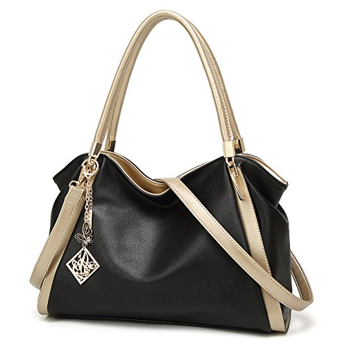 DALFR PU Vegan Leather Women Shoulder Bags Hobo Handbags Top Handle Tote Crossbody Oversized Bags (Black) - Stylish Mini Tote
