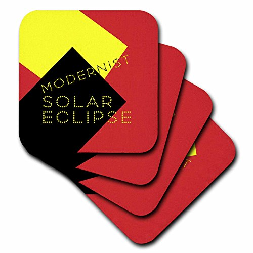 3dRose Alexis Design - Art - Modernist Solar Eclipse Art - set of 4 Ceramic Tile Coasters (cst_271749_3) by 3dRose