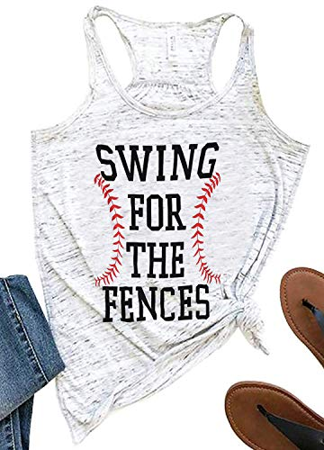 SUNFLYLIG Swing for The Fences Tank Tops for Women Funny Baseball Letter Graphic Racerback Tank Summer Casual Sleeveless T Shirt (X-Large, Light Grey)