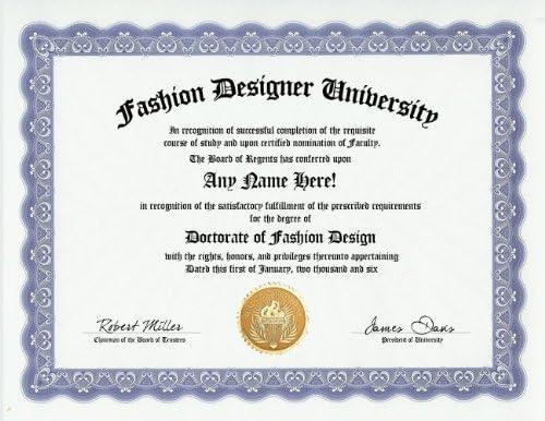 Amazon Com Fashion Designer Design Degree Custom Gag Diploma Doctorate Certificate Funny Customized Joke Gift Novelty Item Toys Games