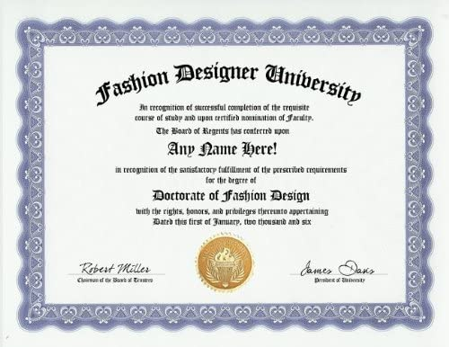 Buy Fashion Designer Design Degree Custom Gag Diploma Doctorate Certificate Funny Customized Joke Gift Novelty Item Online At Low Prices In India Amazon In
