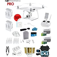 DJI Phantom 4 PRO Quadcopter Drone with 1-inch 20MP 4K Camera KIT + 2 Total DJI Batteries + 2 SanDisk 64GB Micro SDXC Cards + Card Reader 3.0 + Prop Guards + Charging Hub + Range Extender + HardCase