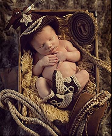 0b9044b702f4a0 Amazon.com : Hisonde Cute Cowboy Style Baby Infant Newborn Handmade Crochet  Knitted Unisex Baby Boots and Hat Outfit Baby Photograph Props : Baby