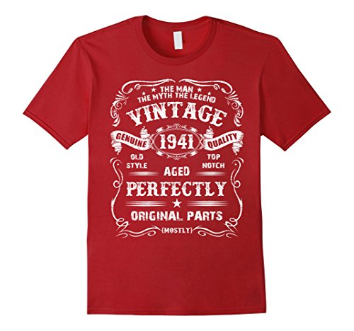 Mens 77th Birthday T-Shirt Legend Vintage 1941 Original Parts Tee XL Cranberry