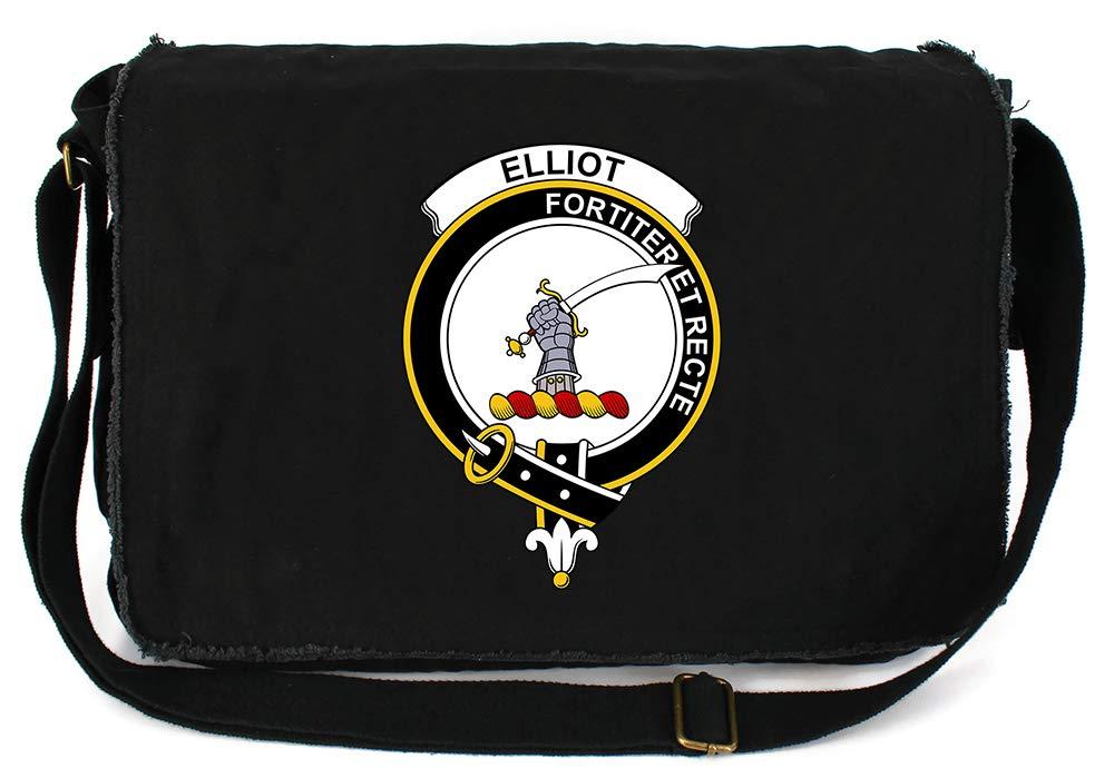 Tenacitee Scottish Clan Crest Badge Elliot Red Brushed Canvas Messenger Bag