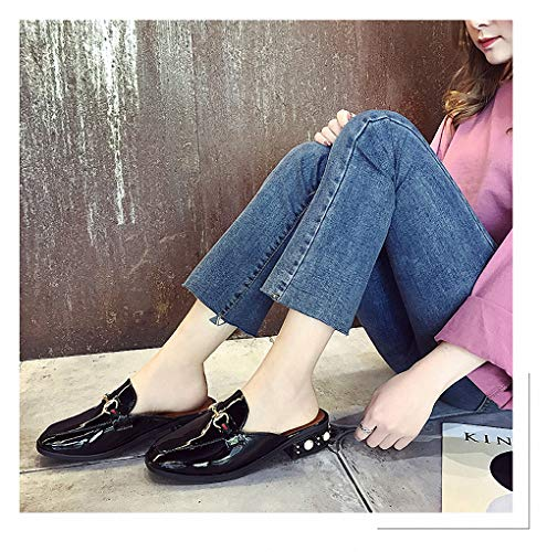 Womens Low-Heeled Sandal Shoes Half Slippers Female New Women's Shoes Square Head Thick with Lazy No Heel Sandals and Slippers 4 7