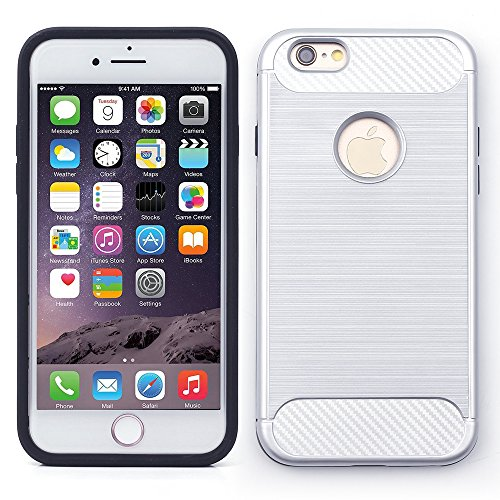 iProtect TPU Schutzhülle Apple iPhone 6 Plus, 6s Plus Carbon Case brushed silber