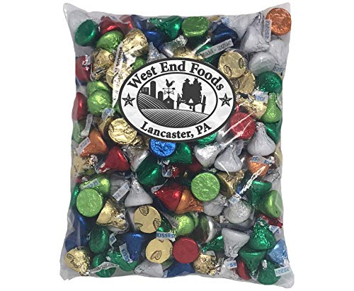 (Bulk 2lb Individually Wrapped Assorted Hershey Kisses Boxes for Easter, Piñata, Party, Parade, Christmas, Birthday, and)