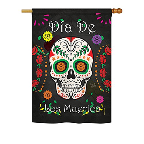 Breeze Decor H112009 Dia de Los Muertos Fall Halloween Decorative Vertical House Flag, 28