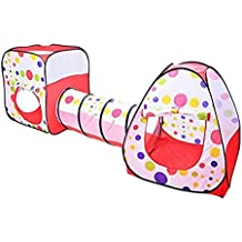 e-joy Indoor Outdoor 3 in 1 Set Adventure Play House Tent Tunnel, Child Playhouse, Play Ground or Room Play Tunnel Hut. Play Tent Set for Toddlers Child Kids