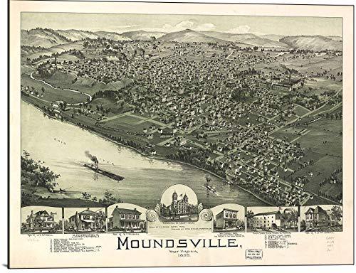 (Cutler Miles Moundsville West Virginia 1899 Map Print on Wood)