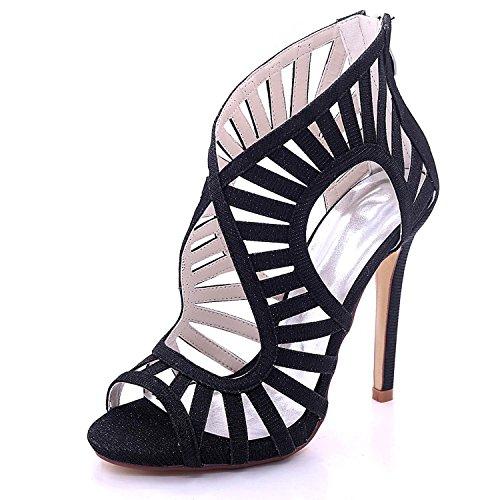 de Tacón YC 7216 Abiertas L 03C Cremallera Black Nupcial Verano Cremallera de satén del del Mujeres Las Zapatos la Alto q0RBwd5