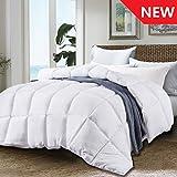 JURLYNE Twin White Comforter Quilted Reversible Duvet Insert, Hypoallergenic Breathable for All Season, Fluffy Light-Weighted Down Alternative Comforter
