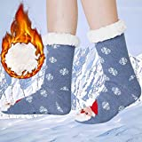 BFUSTYLE 7 Kids Funny Smoky Blue Xmas Stocking Cozy Blue-Gray Snow Winter Thick Fluffy Socks Comfy Stretchy Wormest Santa Claus Home Sleep Hose for Christmas New Year Cold Weather