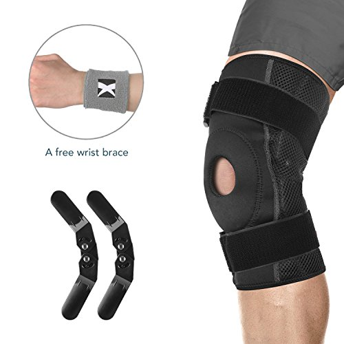 MARNUR Knee Brace Knee Support Stabilizer with Flexible Plastic Hinges and Adjustable Straps for Injury Recovery and Pain Strain Sprains Rehab ACL Plastic Stabilizer