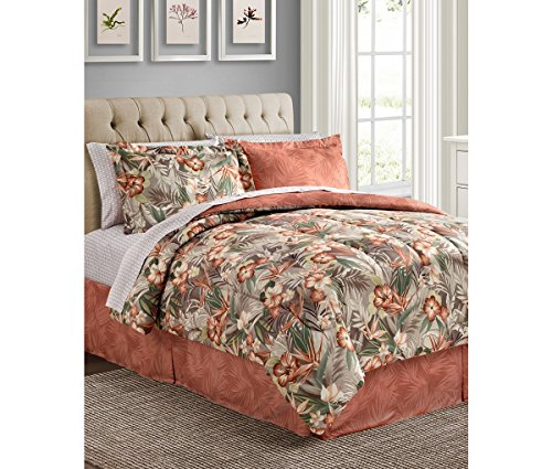 2ca14f82ff Coral   Green Tropical Palm Flowers Hawaiian Beach California CAL King  Comforter Set (8 Piece Bed In A Bag) + HOMEMADE WAX MELT hot sale