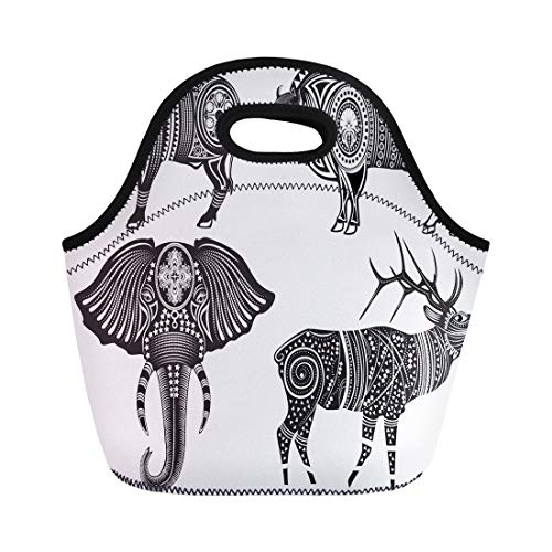 Semtomn Lunch Bags Deer Black Indian of Tribal Totem Animals Elephant Western Neoprene Lunch Bag Lunchbox Tote Bag Portable Picnic Bag Cooler Bag