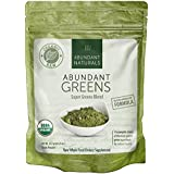 Abundant Greens Powder ORGANIC Green Smoothie Superfood - 38 Servings - Boost Energy & Vitality - Abundant Spirulina, Wheatgrass, Moringa, Chlorella & more - Pleasant & Refreshing - Non-GMO, Raw & Gluten-free