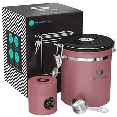 Coffee Gator Stainless Steel Container - Canister with co2 Valve, Scoop, eBook and Travel Jar - Medium, Pink