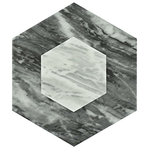 SomerTile FEQ8BXG Murmur Bardiglio Hexagon Porcelain Floor and Wall Tile, 7'' x 8'', Geo by SOMERTILE (Image #4)