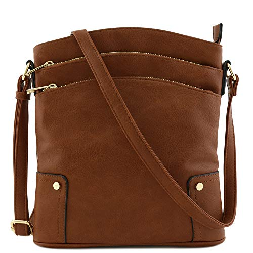 Top Tote Lined Fully Zip - Triple Zip Pocket Large Crossbody Bag Brown