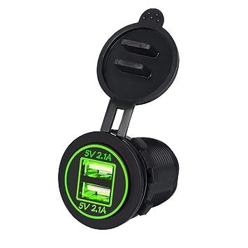 TurnRaise 4.2A Toma USB Cargador para Coche Barco Motocicleta 12-24 Voltios IP66, Color Negro (Led Verde)