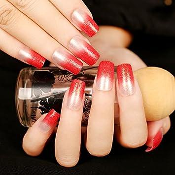 echiq Sexy UV Gel uñas postizas rojo claro falsa uñas cuadrado Holo purpurina Manicura Decoración consejos medio 24: Amazon.es: Belleza