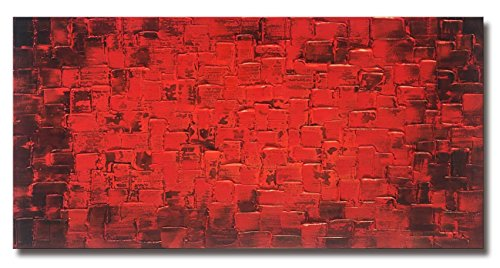 Large Abstract Dark Red Square Wall Art Hand Painted Textured Oil Painting on Canvas Ready To Hang 60x30inch by MyArton
