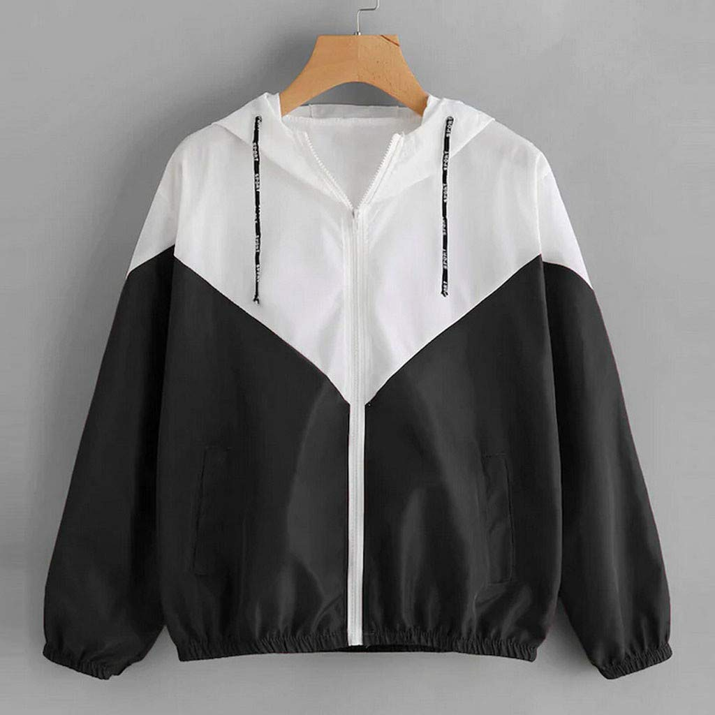 CCOOfhhc Womens Casual Coat Color Block Drawstring Hooded Windbreaker Jacket Zip Long Sleeves Sport Gym Coats with Pockets
