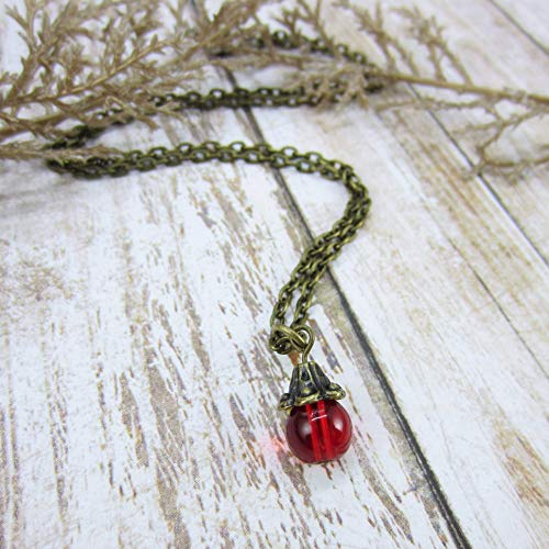 Small Red Pendant Necklace Bronze Chain, July January Birthstone, Faux Ruby, 40th Anniversary Gift ()