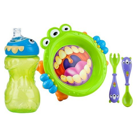 Nuby 3pc Monster Baby Feeding Set - 11oz Super Spout Gripper Cup, Plate, Spoon & Fork