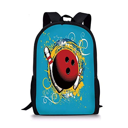 ZOZGETU backpack School Bags Bowling Party Decorations,Fun Hobby