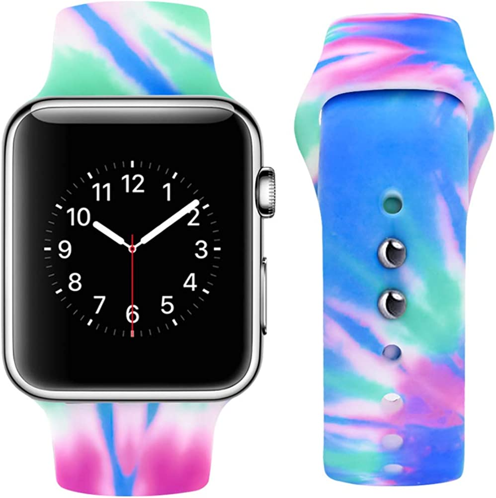 Vozehui Replacement Band Compatible with iWatch Band 40mm 38mm, Colorful Pattern Printed Soft Silicone with Tie-Dyed Design, Sport Wristbands for iWatch Series 6/5/4/3/2/1