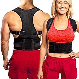 Back Brace Posture Corrector – Best Fully Adjustable Support Brace – Improves Posture and Provides Lumbar Support – for Lower and Upper Back Pain – Men and Women